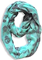 Infinity Loop Skull Design Scarf (Mint Green/Grey Rose)