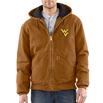 NCAA West Virginia Mountaineers Mens Quilted Flannel Lined Sandstone Active Jacket by Carhartt