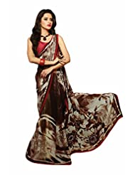 Aasri Women Georgette Designer Brown Fancy Prints Saree with Blouse Piece