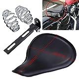Possbay Motorrad Einzelsitz Leder Mit Halterung Silber Spiralfeder