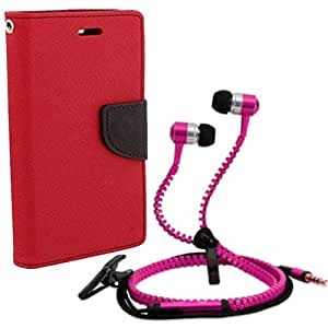 Aart Fancy Diary Card Wallet Flip Case Back Cover For Mircomax Q345-(Red) + Zipper earphones/Hands free With Mic *Stylish Design* for all Mobiles By Aart store