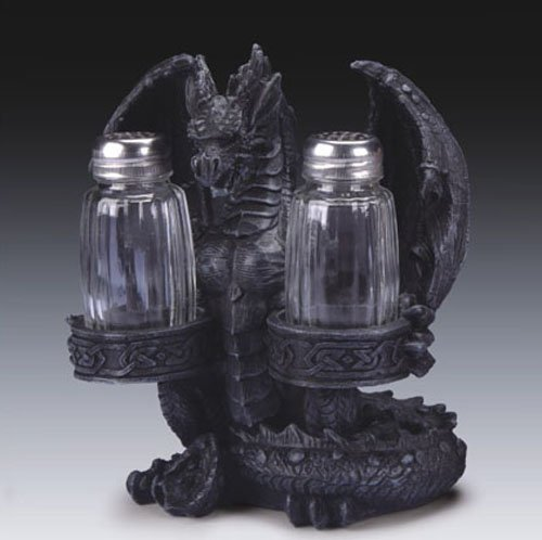 GRENDEL DRAGON GOTHIC SALT PEPPER SHAKERS HOLDER TEA LIGHT CANDLE STATUE