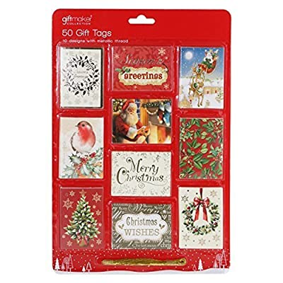 50 Luxury Traditional Christmas Gift Tags with Gold Metallic Thread
