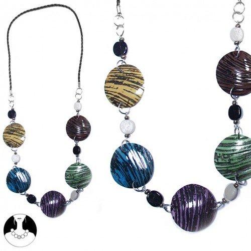 sg paris women necklace necklace 75cm black cord multi shell glass shell