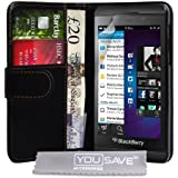 Yousave Accessories PU Leather Wallet Cover Case for Blackberry Z10 - Black