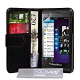 Blackberry Z10 Case Blackberry Z10 Black PU Leather Wallet Coverby Yousave Accessories