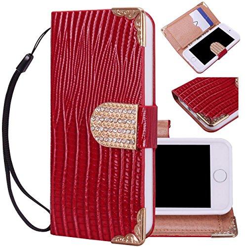 Majesticase® iPhone 5/5s Wallet Case - Deluxe Bling Fancy Wristlet Wallet Purse Clutch Croc Pattern Cover + FREE Stylus in Red