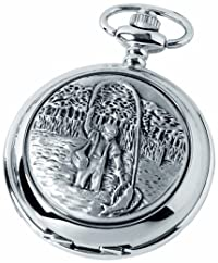 Woodford Quartz Pocket Watch, 1880/Q, Men's Chrome-Finished Fisherman Pattern with Chain (Suitable for Engraving)