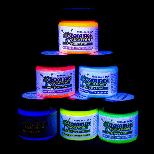 glominex-ah921-glow-in-the-dark-body-and-face-paint-1oz-jars-assorted-colors-6ct