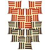 Cross Patti Cushion Covers Combo Beige,Rust/Beige,Black 40 X 40 Cms(10 Pcs Set)