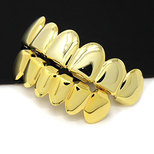 New Custom Fit 14k Gold Plated Hip Hop Teeth Grillz Caps Top & Bottom Grill Set (Black Tooth Cap compare prices)