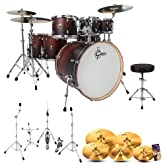 Gretsch CMT-E826P-SWF Catalina Maple Satin Walnut Fade 7-Pc Shell Pack w/ Hardware, Throne, Cymbals & Drum Set Guide