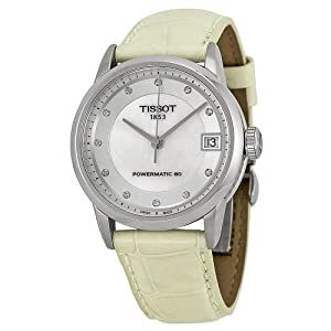 Tissot T-Classic Luxury Automatic Mother of Pearl Dial Leather Ladies Watch T0862071611600