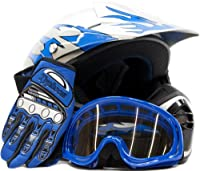 Youth Offroad Gear Combo Helmet Gloves Goggles DOT Motocross ATV Dirt Bike MX Motorcycle Blue - Large by Typhoon Helmets