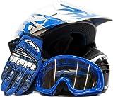 Youth Offroad Gear Combo Helmet Gloves Goggles DOT Motocross ATV Dirt Bike MX Motorcycle Blue - Medium