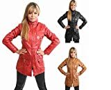 Ladies 3/4 Fitted Leather Coat High Fashion Leather Jacket 1310 Black Red Tan by NYC Leather Factory Outlet