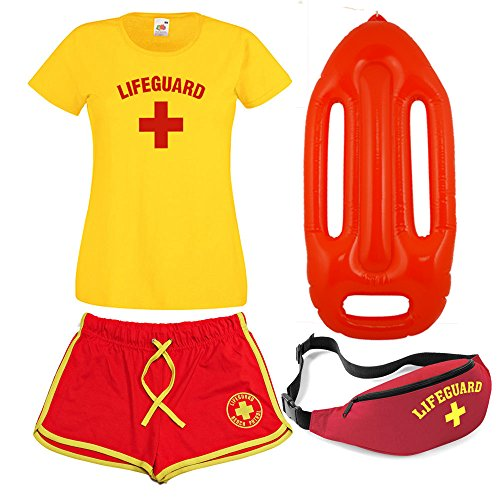 LADIES LIFEGUARD T-SHIRT SHORTS Bum Bag and Float 4 PIECE SET (Small)