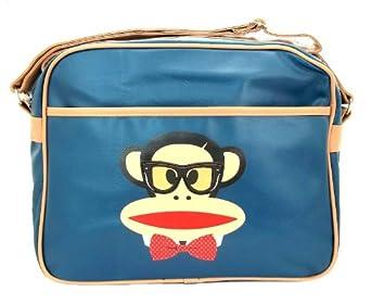 Pfgc7050nvy Paul Frank Navy Blue Monkey Geek Zip Up Shoulder Messenger Bag