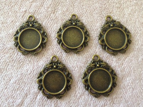5 Piece 12MM Antiqued Bronze Round Double Dragon Bezel Pendant Charm Setting Jewelry Findings