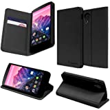 GreatShield Google Nexus 5 [SHIFT LX] PU Leather Wallet Flip Stand Case Cover with Card Pockets (Black)