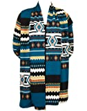Colorful Aztec Print Long Cardigan Sweater Wrap - White, Teal & Red