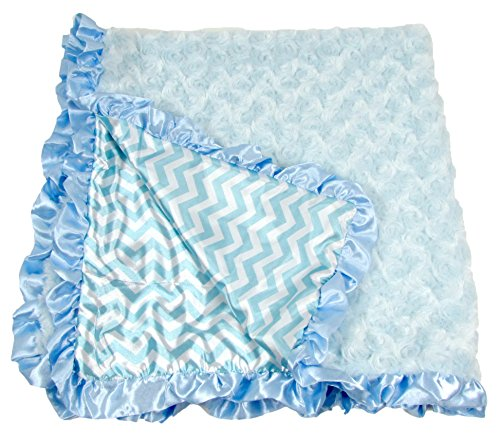 Boys Baby Blue Chevron Print Minky Baby Blanket Soft and Cuddly