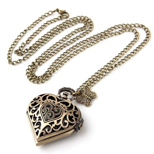 Antique Brass Necklace Pendant Heart Clock Watch 1.57