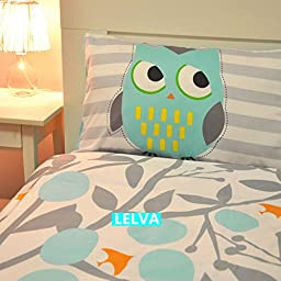 LELVA Gray Cotton Bedding Owl, Cartoon Children\'s Duvet Cover Set, Kids Bedding Set, Fitted Sheet & Flat Sheet Set, Twin Full Size (Fitted Sheet, Twin)