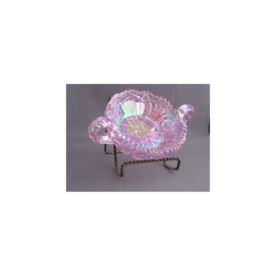 Amethyst Purple Glass Thistle Pattern Handled Sugar Bowl Ohio Made