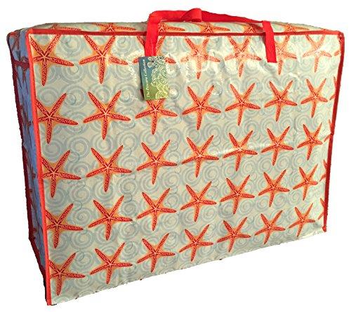 Super grand sac de rangement de 115 litres. Motif rouge Etoile de mer. Toy sac, le lavage et le sac à linge