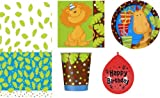 BIRTHDAY TABLEWARE PACK JUNGLE PARTY DESIGN PLATES NAPKINS CUPS TABLECOVER BALLOONS