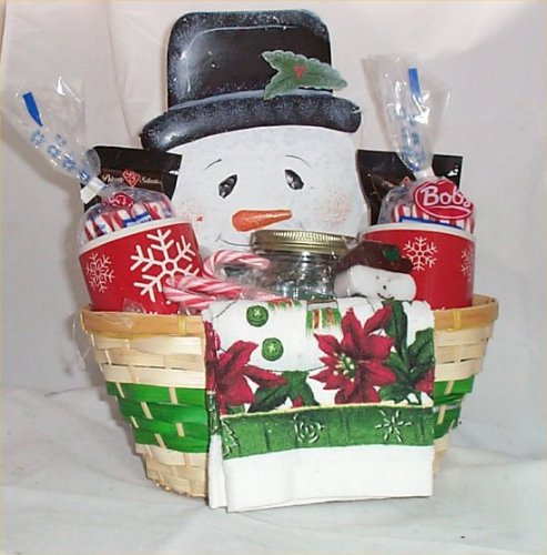 Snowman Gift Basket Mugs Cocoa Candy Tin Wall