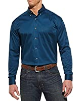 Ariat Men's Indochine Blue Solid Twill Long Sleeve Shirt