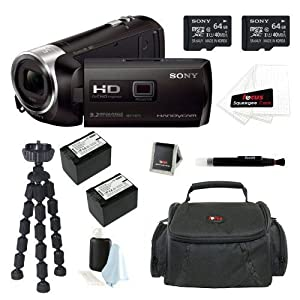 Sony HDR-PJ540/B HDRPJ540 PJ540 32GB Full HD 60p Camcorder w/ built-in Projector + Sony MicroSD 32GB + Wasabi NP-FV70 Battery + Focus Case + Accessory Kit