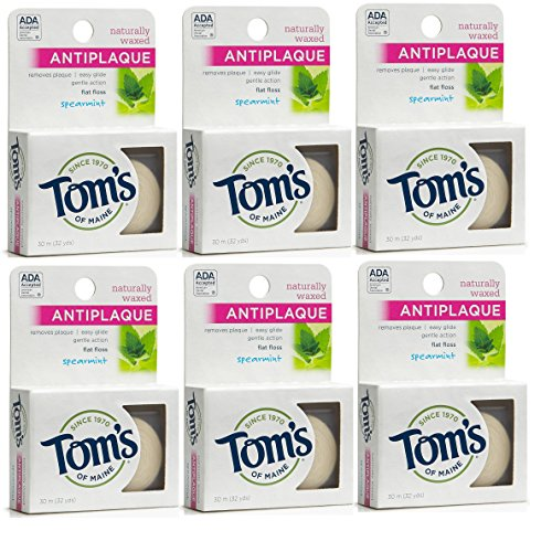 toms-of-maine-natural-waxed-antiplaque-flat-floss-spearmint-32-yards-pack-of-6