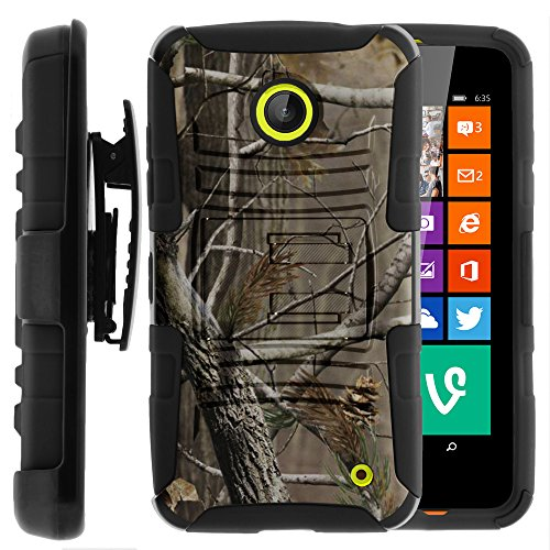 Nokia Lumia 635 Case, Nokia Lumia 630 Case, Two Layer Hybrid Armor Hard Cover with Built in Kickstand and Holster Belt Clip for Nokia Lumia 635, 630 (AT&T, Sprint, T Mobile, Cricket, Virgin Mobile, Boost Mobile, MetroPCS) from MINITURTLE | Includes Screen Protector - Hunter Camouflage (Nokia Lumia 635 Boost Mobile compare prices)