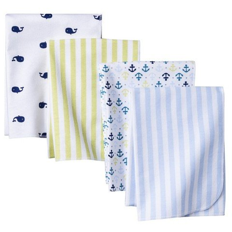 Circo 4pk Flannel Receiving Blankets - Whales 'n Waves - 1