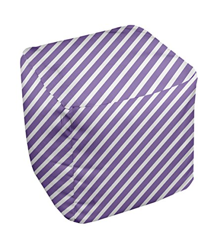 E by design Stripe Pouf, 13-Inch, 2Heather Purple
