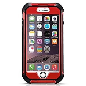 EasySMX Upgraded Waterproof Case for iPhone 6 Plus and 6s Plus Slim and Durable Fully Sealed with Screen Protector IP68 Waterproof Dropproof Access to Touch Screen and Mute Key (Red)
