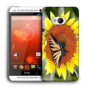 Snoogg Butterfly Seeking Honey From Sunflower Printed Protective Phone Back Case Cover For HTC One M7