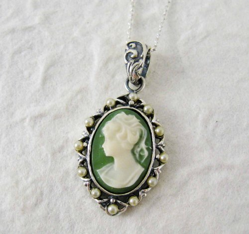 Pearl Framed Cameo Necklace, Green