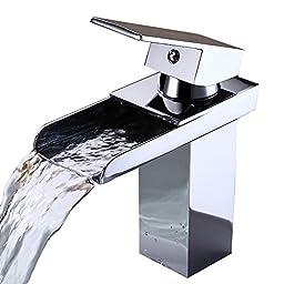 MANCEL Widespread Waterfall Bathroom Sink Faucet, Chrome Finish