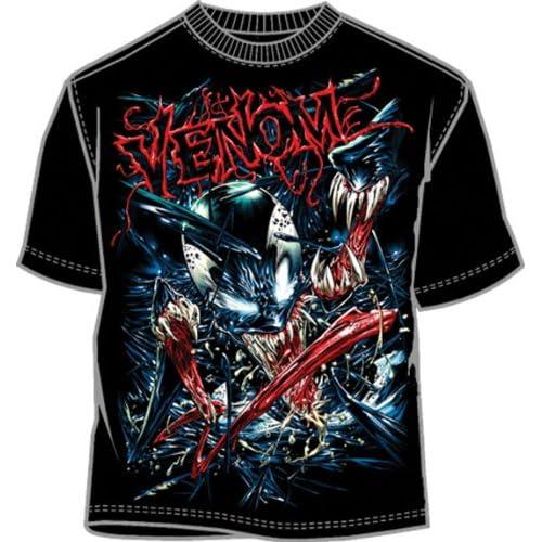Marvel Comics Spider man Angel Venom Black Mens T shirt (Small)