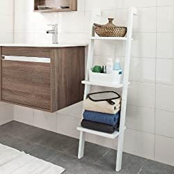 SoBuy Modern Wood Leaning Ladder Book / Magazine Shelf with Three Floors, Stand Rack, Wall Shelf, FRG32-W,white