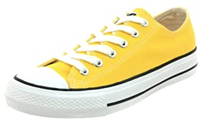 Difyou Women's Comfy Lace-up Casual Canvas Shoes For Couples Yellow 7 B(M) US