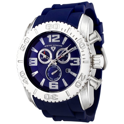 Swiss Legend Men's 20067-03B Commander Collection Chronograph Blue Dial Blue Rubber Watch