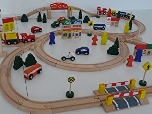 point-kids 100-Piece Railway Train Set Wooden