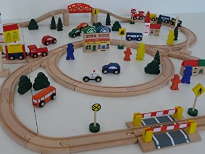 point-kids 100-Piece Railway Train Set Wooden by point-kids