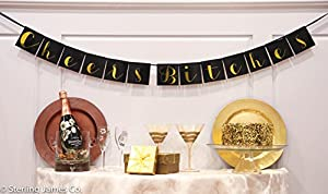 """Cheers Bitches"" Bachelorette Party Decorations - Black & Gold Bachelorette Party Banner by Sterling James Company"