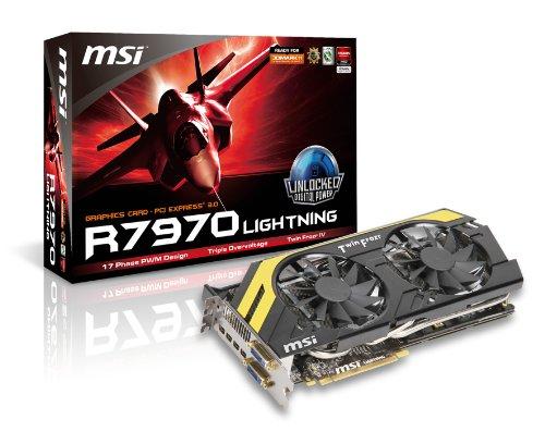 MSI RADEON HD7970, 3GB GDDR5, Mini DisplayPortx4, SL-DVI-I, SL-DVI-D, PCI Express 3.0 Graphics Card R7970 Lightning